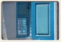 Hauseingang  blau-weiß, Indien 2007